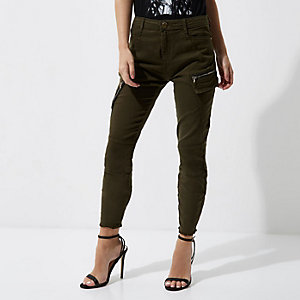 Petite khaki green skinny cargo trousers