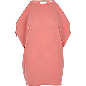 Schulterfreies T-Shirt in Koralle