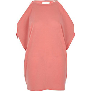 Koraalrood gebreid schouderloos T-shirt