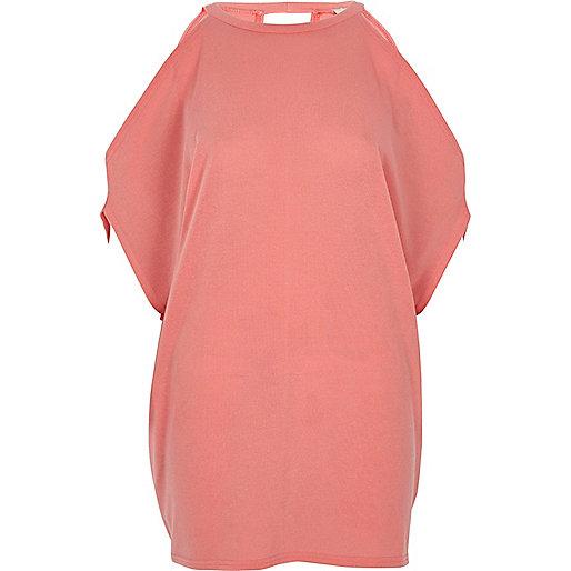 Coral knit cold shoulder T-shirt