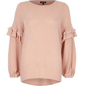 Pink knit frill sleeve sweater