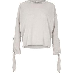 Light grey knit double tie sleeve top