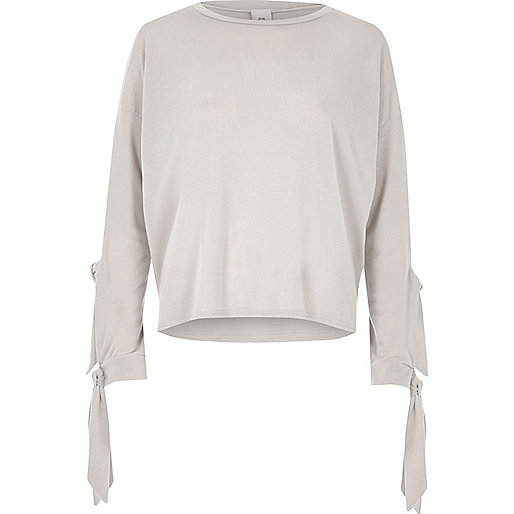 Light grey knit double tie sleeve top