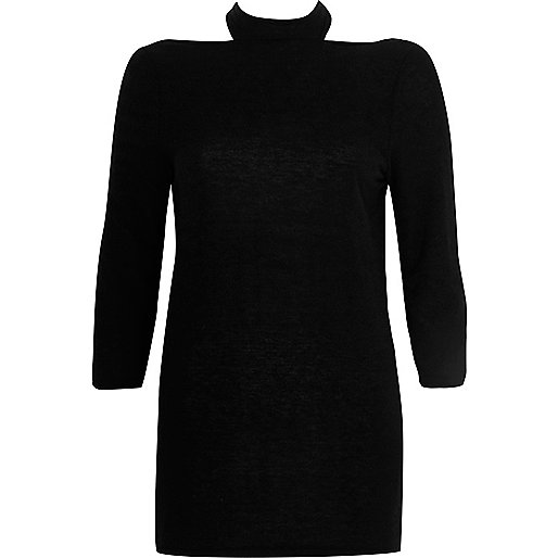 Black choker cut out back sweater