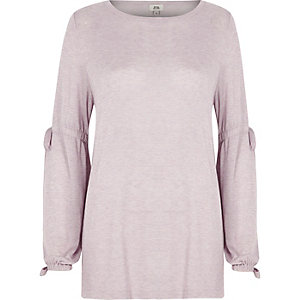 Light purple balloon tie sleeve jumper