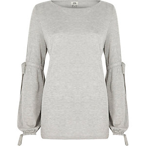 Light grey balloon tie sleeve jumper