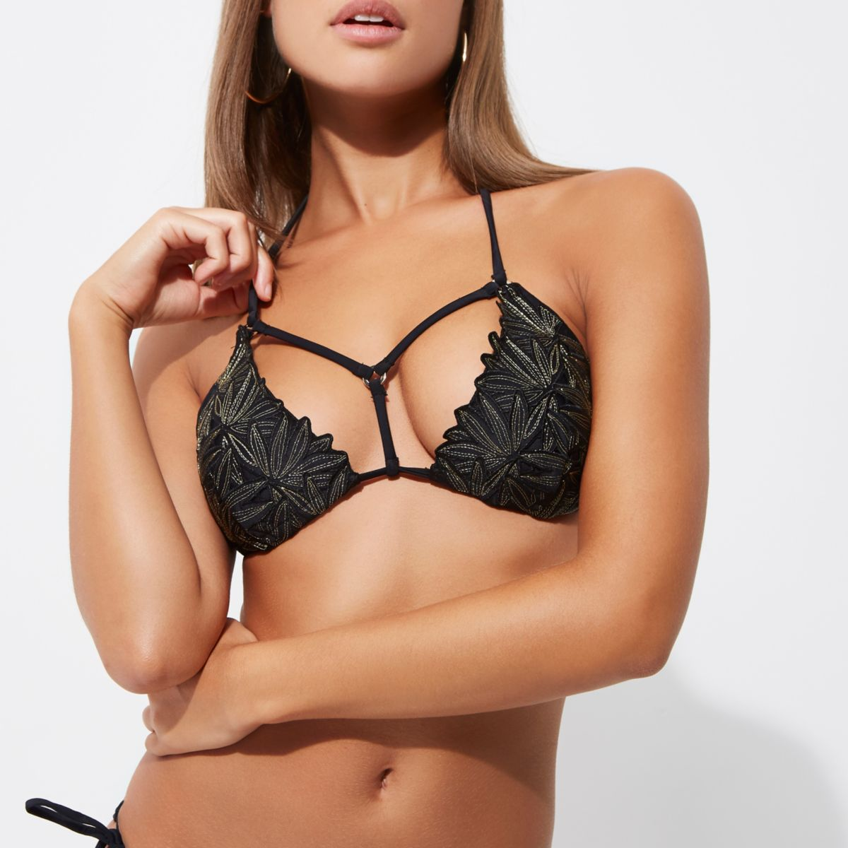 Black embroidered triangle bikini top