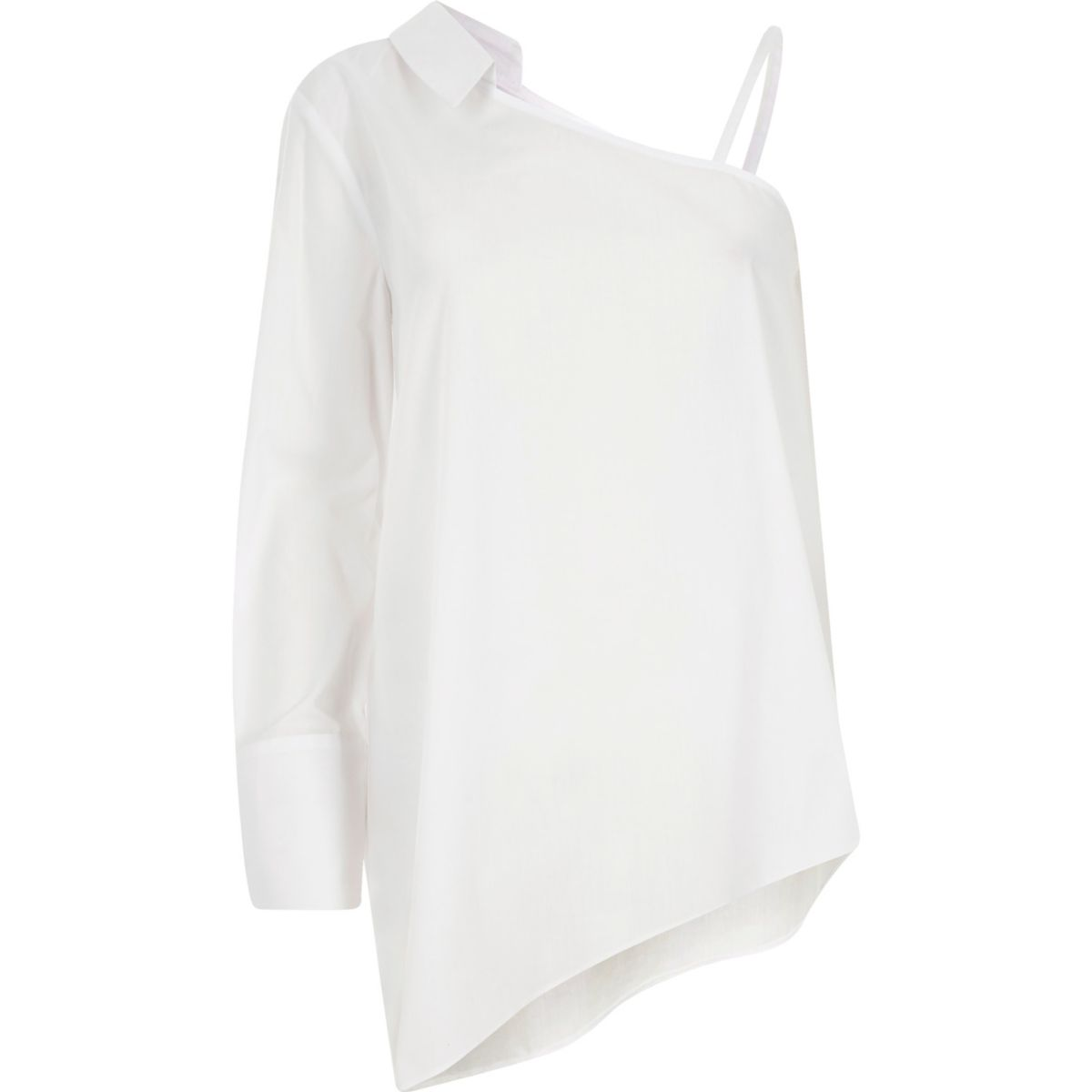 White one shoulder long sleeve shirt
