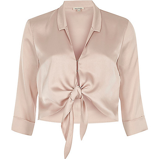 Pink satin tie front cropped shirt