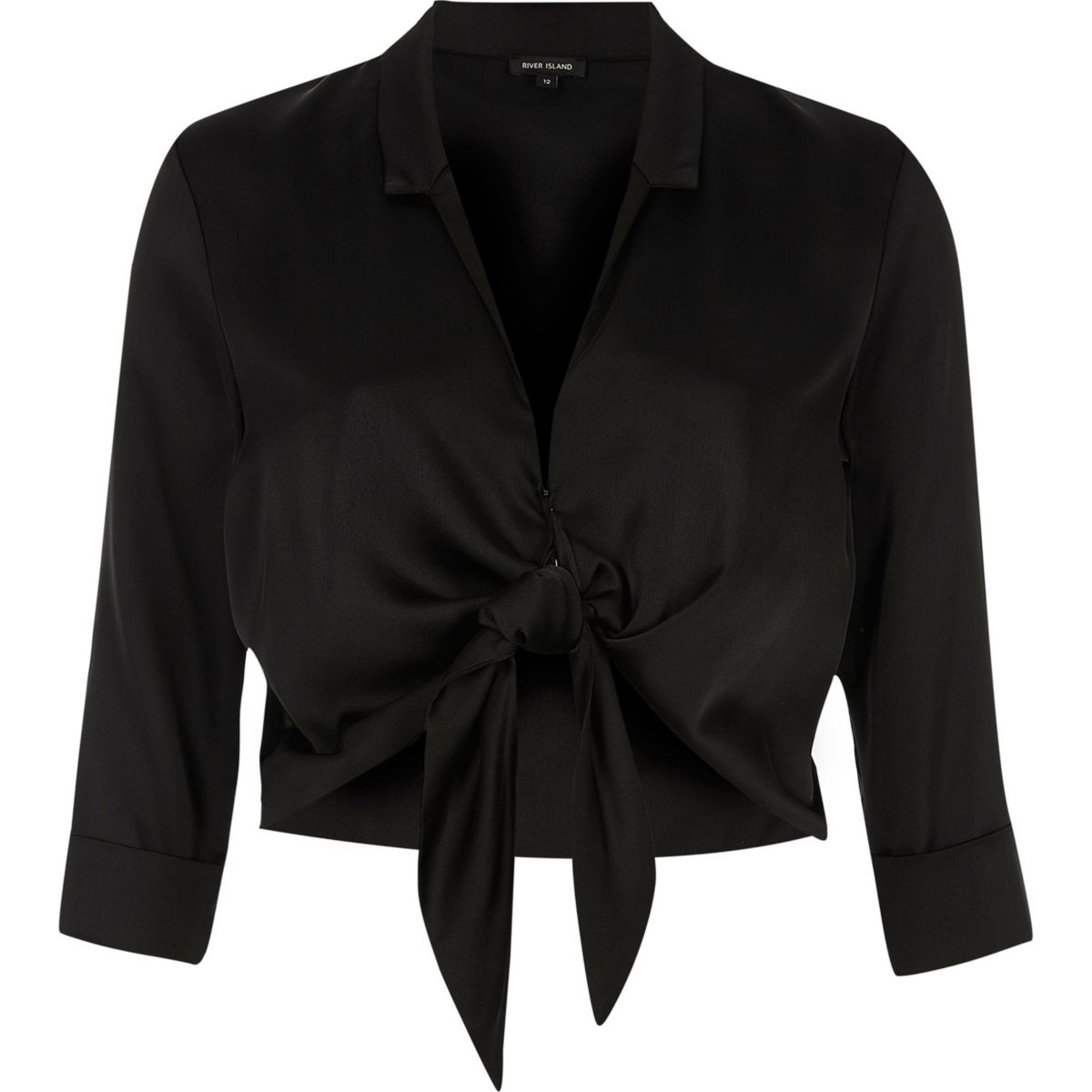 Black satin tie front cropped shirt