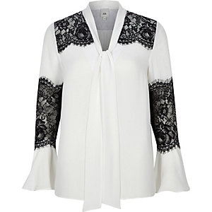 White lace insert flared sleeve blouse