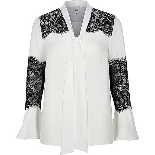White lace insert flared sleeve blouse