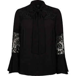 Black lace insert flared sleeve blouse