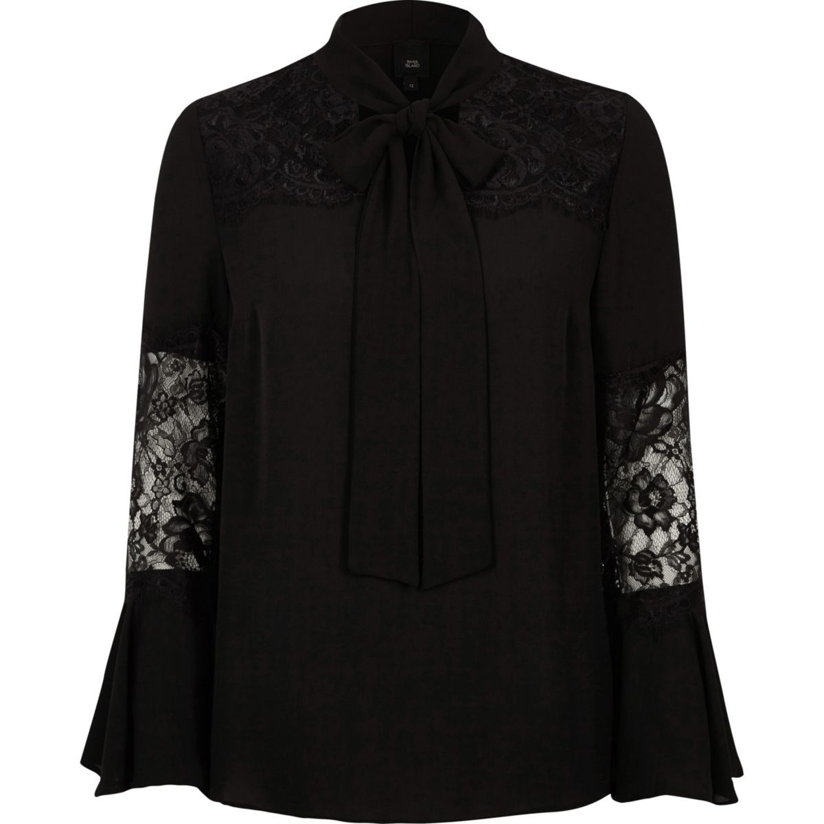 Black lace insert flared sleeve blouse