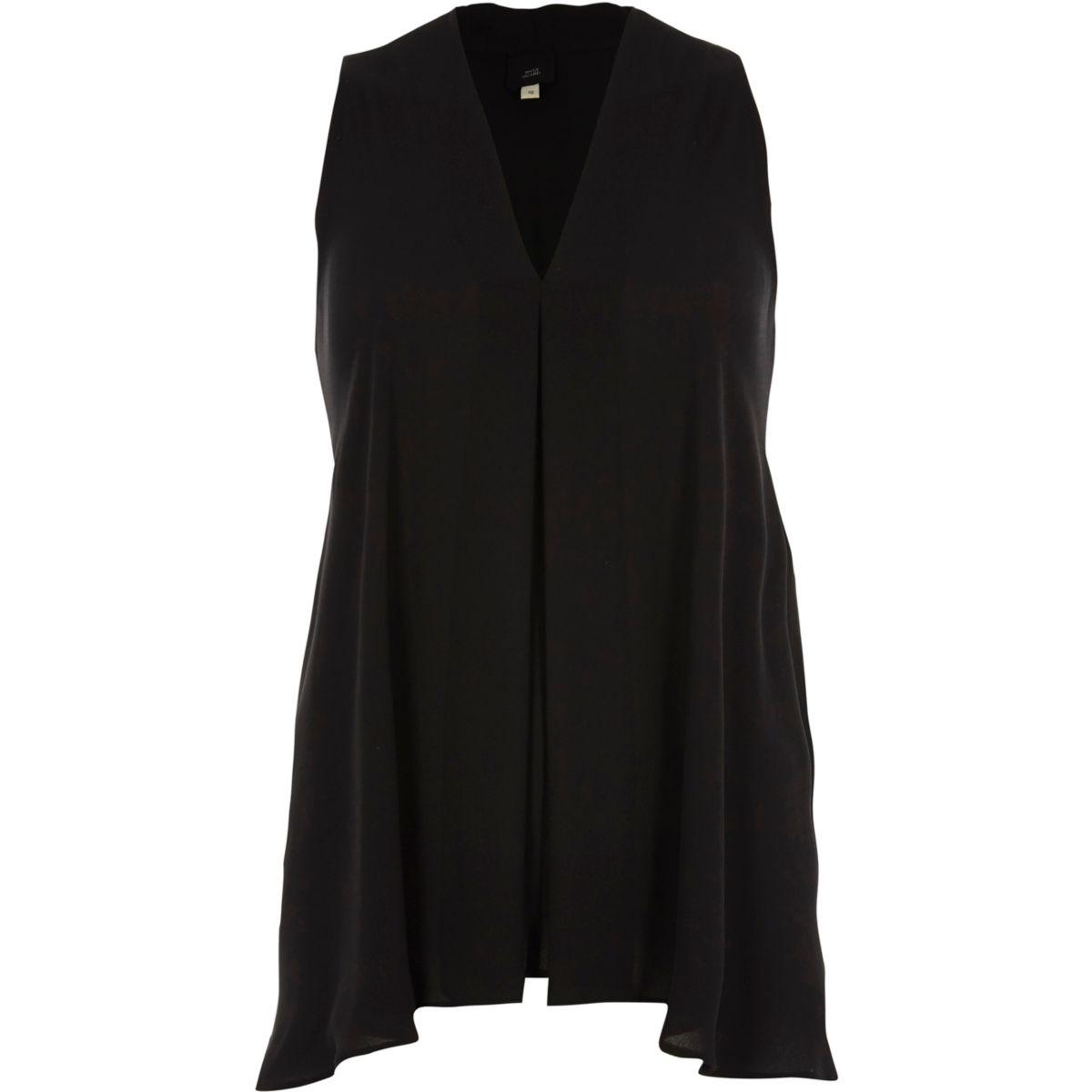Schwarze, ärmellose Bluse mit V-Ausschnitt