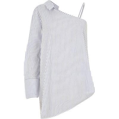 Blauw gestreept overhemd met blote schouder en lange mouw