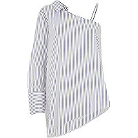 Blue stripe one shoulder long sleeve shirt