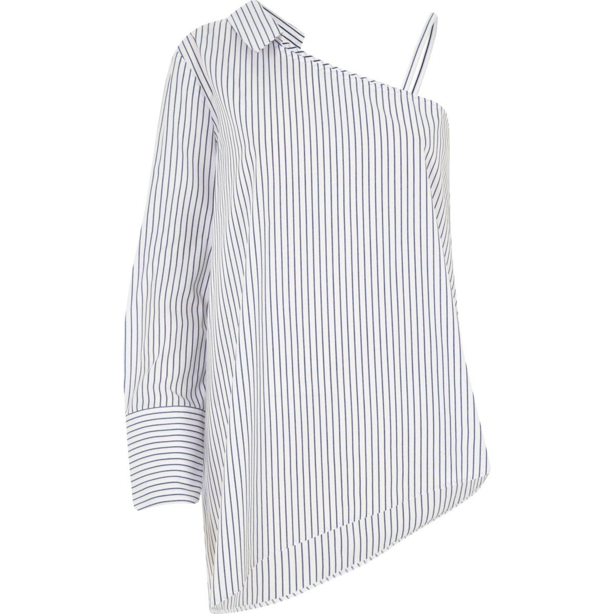 Blue stripe one shoulder long sleeve shirt