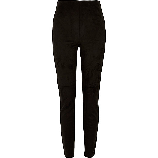 Pantalon skinny en moleskine noire