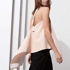 RI Studio – Top rose clair à bordures contrastantes drapé dans le dos