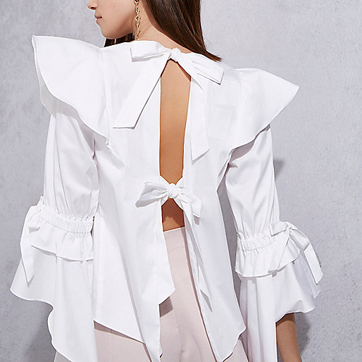 White RI Studio bell sleeve frill top