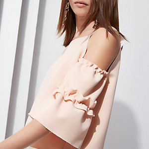Light pink RI Studio cold shoulder top
