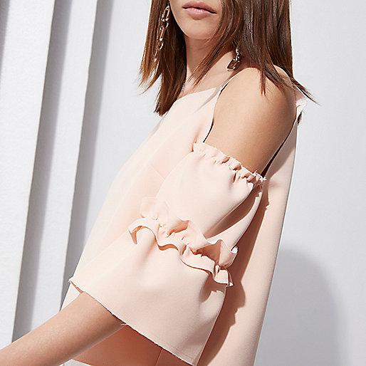 Light pink RI Studio cold shoulder top