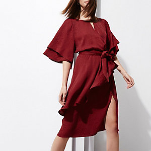 Dark red RI Studio jacquard wrap midi dress