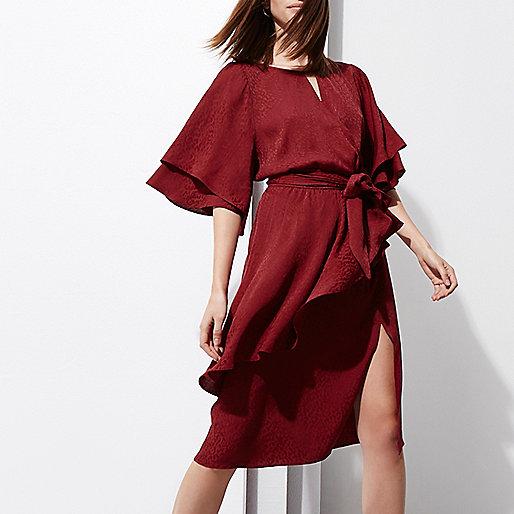 Dark red RI Studio jacquard wrap midi dress