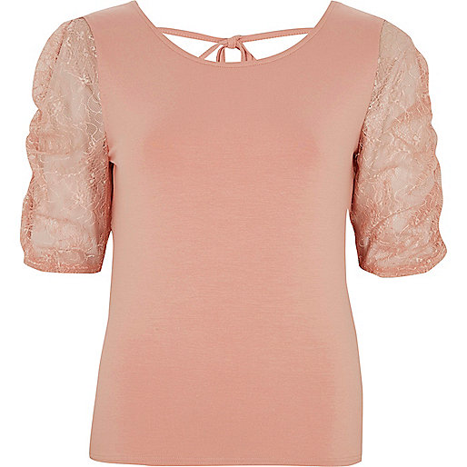 Pink lace puff sleeve top