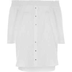 Weißes, langärmliges Bardot-Hemd