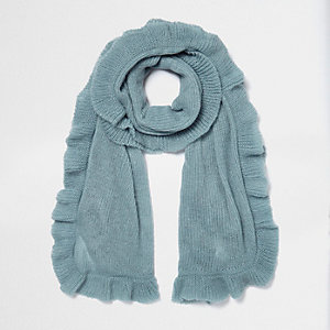 Light blue frill hem knit scarf
