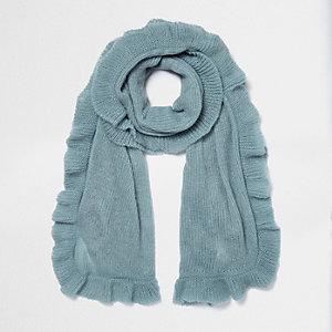 Light blue frill hem knit scarf