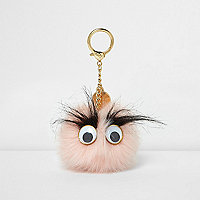 Light pink pom pom googly eye keyring