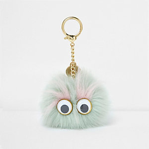 Light green pom pom googly eye keyring
