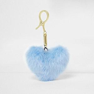 Porte-clés à pompon bleu clair motif cœur