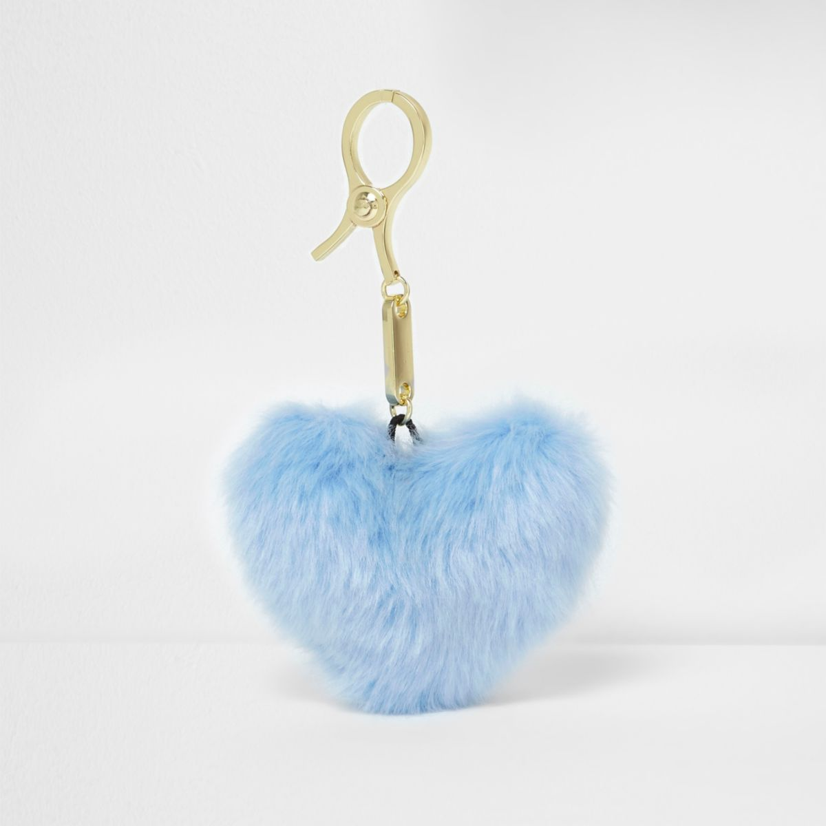 Light blue heart pom pom keyring