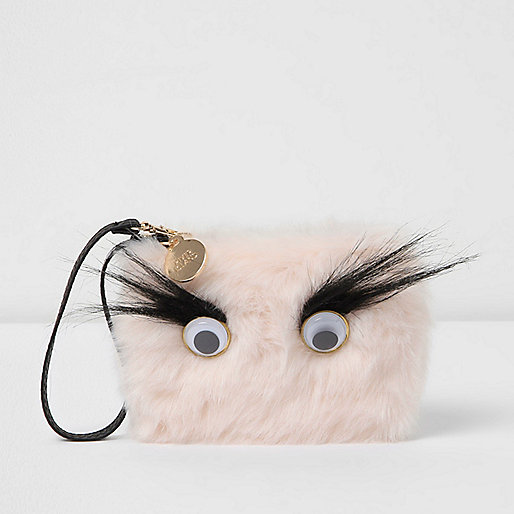 Light pink googly eye fur pouch