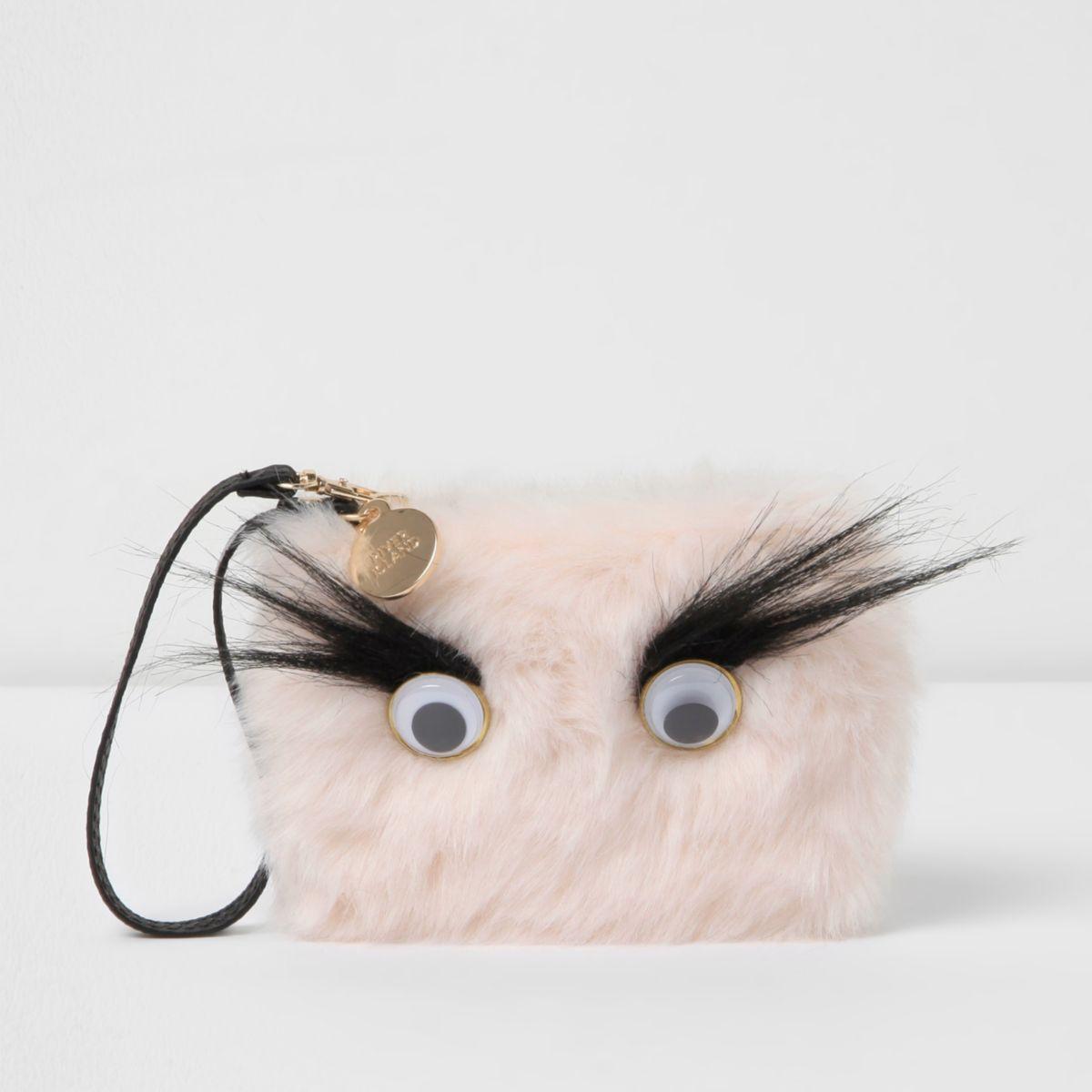 Light pink googly eye faux fur pouch