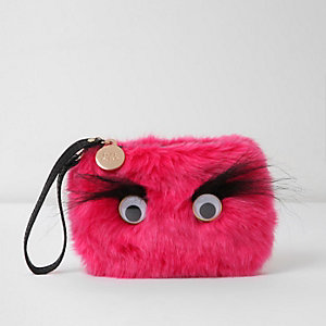 Pink faux fur googly eye pouch