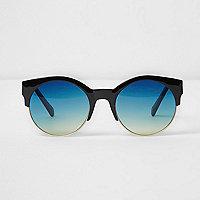Zwarte zonnebril met half montuur en blauwe glazen
