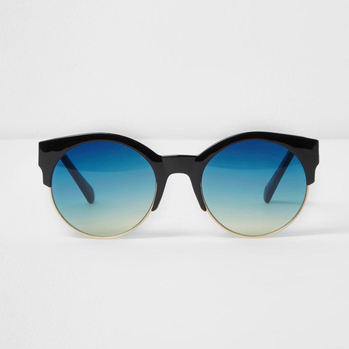 Black half frame blue lenses sunglasses