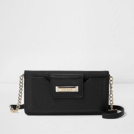 Black phone holder cross body chain bag