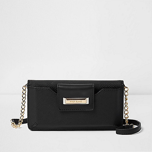 Black phone holder cross body chain bag