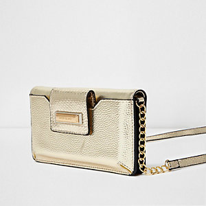 Gold metallic cross body phone holder