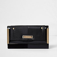Black foldover metal side slim purse