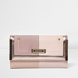 Pink foldover metal side slim purse