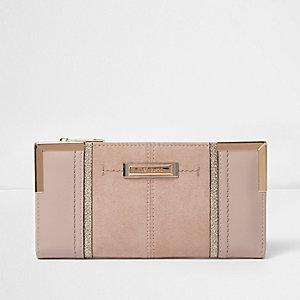 Beige panel slim purse