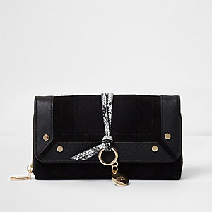 Black snakeskin detail foldover purse