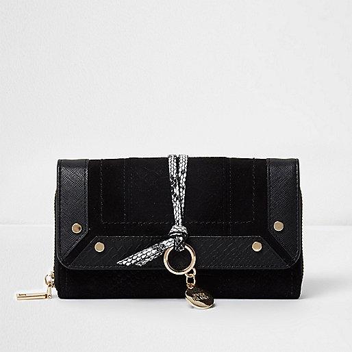 Black snakeskin detail foldover purse